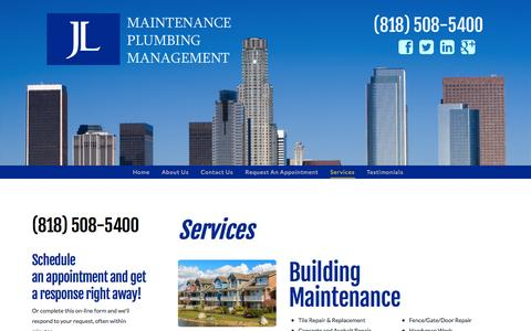 Screenshot of Services Page jlmaint.com - Plumbing Services North Hollywood - captured Nov. 4, 2014