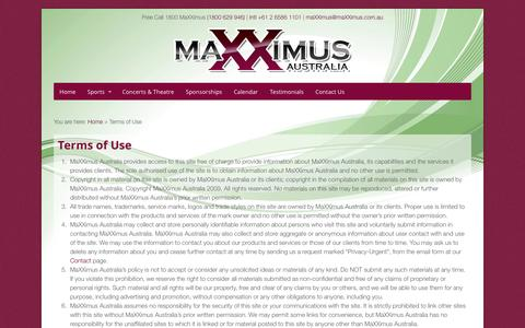 Screenshot of Terms Page maxximus.com.au - Terms of Use - MaXXimus Australia - Corporate Hospitality - captured Oct. 4, 2014