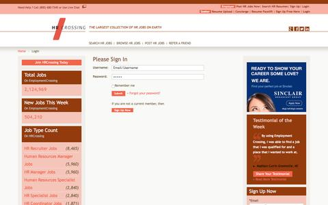 Screenshot of Login Page hrcrossing.com - Access HR Jobs, HR Job Database, Sign In, Username, Password | HRCrossing.com - captured May 13, 2017