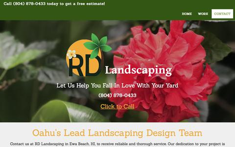 Screenshot of Contact Page rdlandscaping.net - (804) 878-0433 | Oahu, HI | RD Landscaping - captured July 26, 2018