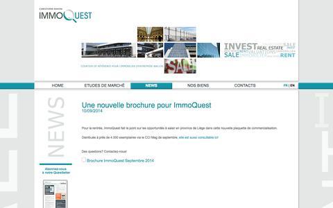 Screenshot of Press Page immoquest.be - Une nouvelle brochure pour ImmoQuest -  IMMOQUEST - captured Sept. 30, 2014