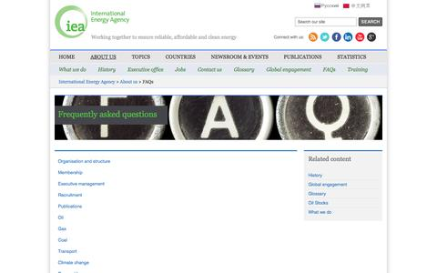 Screenshot of FAQ Page iea.org - IEA - FAQs - captured Sept. 23, 2014