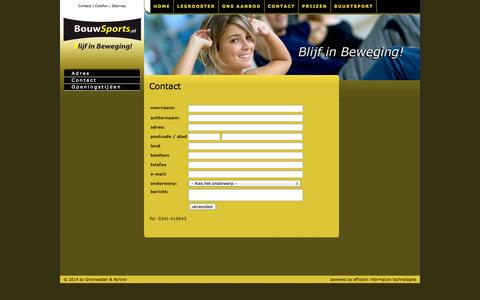 Screenshot of Contact Page bouwsports.nl - Contact - captured Sept. 30, 2014
