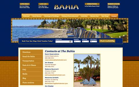 Screenshot of Contact Page bahiahotel.com - Contact | Bahia Resort Hotel, San Diego, CA - captured Sept. 18, 2014