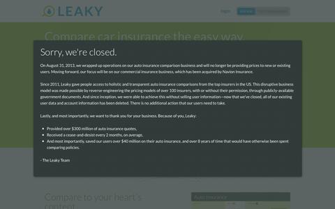 Screenshot of Login Page leaky.com - Leaky: Compare car insurance the easy way. - captured June 16, 2015