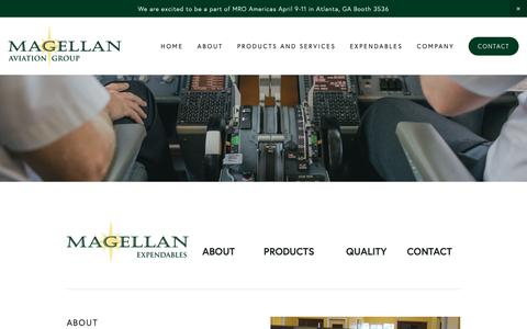 Screenshot of About Page magellangroup.net - About — Magellan Aviation Group - captured April 16, 2019