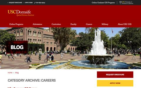 Screenshot of Jobs Page usc.edu - Careers Archives - USC GIS Online - captured July 18, 2018
