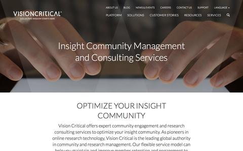 Screenshot of Services Page visioncritical.com - Services - Vision Critical - captured Aug. 19, 2016