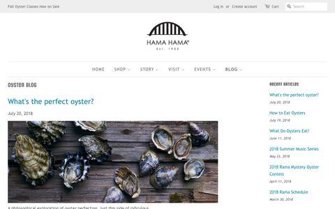Screenshot of Blog hamahamaoysters.com - Oyster Blog   Hama Hama Company - captured Sept. 26, 2018