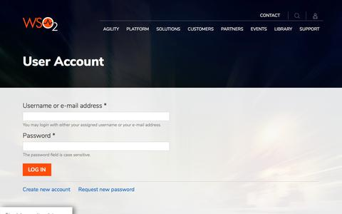 Screenshot of Login Page wso2.com - User Account - captured Sept. 8, 2019