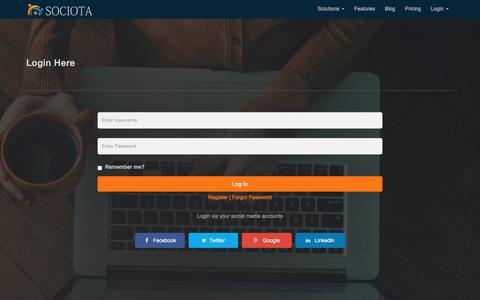 Screenshot of Login Page sociota.net - Social Media Dashboard, Social Media Campaign - Sociota - captured Sept. 1, 2016