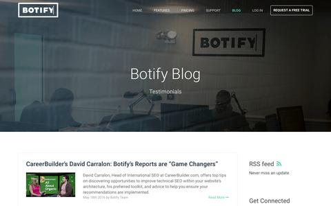 Screenshot of Testimonials Page botify.com - Botify Blog - captured July 30, 2016