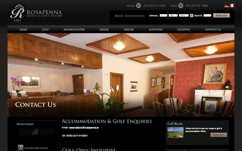 Screenshot of Contact Page rosapenna.ie - Hotel in Donegal, Golf Hotels Donegal, Donegal Hotel, Luxury Hotels in Donegal, 4 Star Hotel Donegal, Hotel Donegal - captured Oct. 4, 2015