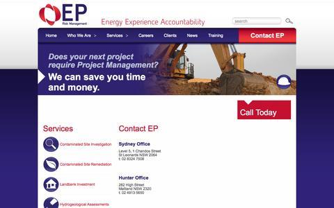 Screenshot of Contact Page eprm.com.au - EP Risk Management Newcastle Maitland Sydney | EP Risk Management - captured Oct. 1, 2014