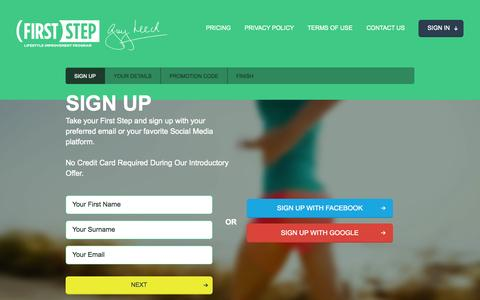Screenshot of Trial Page firststep52.com - First Step, Guy Leech, Lifestyle Improvement Program - captured Sept. 30, 2014