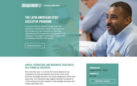 Screenshot of Landing Page chicagobooth.edu - The Latin American CFOs' Executive Program - Chicago Booth Executive Education - captured May 11, 2018
