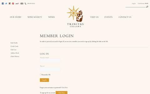 Screenshot of Login Page trinitascellars.com - Trinitas Cellars - captured June 7, 2019