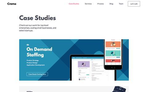 Screenshot of Case Studies Page crema.us - Work - captured July 6, 2018