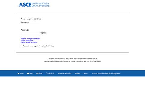 Screenshot of Login Page asce.org - Single Sign On - captured Oct. 14, 2019