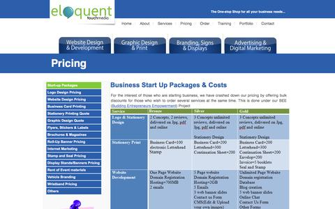 Screenshot of Pricing Page eloquenttouchmedia.com - Eloquent Touch Media - captured July 18, 2018