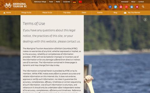 Screenshot of Terms Page aboriginalbc.com - Terms of Use | Aboriginal Tourism BC - captured Oct. 4, 2014