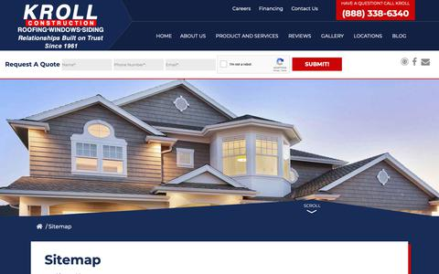 Screenshot of Site Map Page krollwindow.com - Sitemap | Garden City, MI | Kroll Construction - captured Oct. 16, 2018