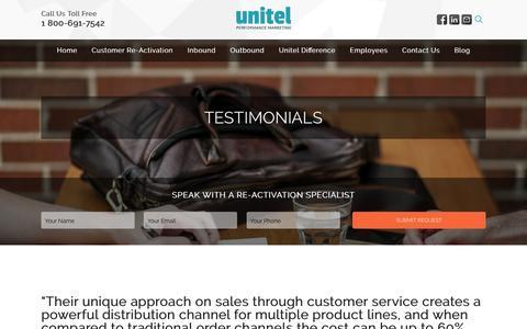 Screenshot of Testimonials Page unitelmarketing.com - Unitel   Testimonials - captured Feb. 17, 2016