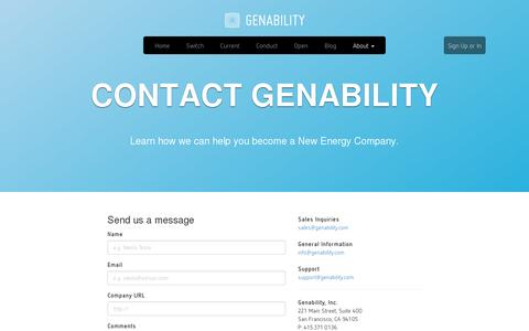 Screenshot of Contact Page genability.com - Contact - Genability: Making a cleaner, more elastic energy grid - captured July 19, 2014