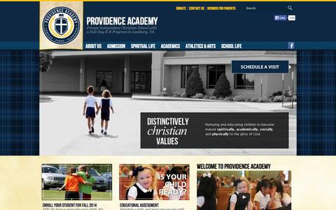 Screenshot of Home Page providenceacademyva.org - Private Christian School with Full-Day Kindergarten through 8th grade in Leesburg VA (Providence Academy VA) - captured Oct. 3, 2014