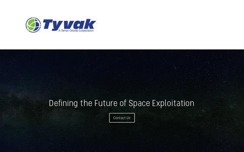 Screenshot of Home Page tyvak.com - Tyvak   Defining the Future of Space Exploitation - captured Jan. 11, 2019