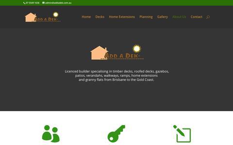 Screenshot of About Page addadek.com.au - Licenced Builder - Add A Dek - captured Dec. 23, 2015