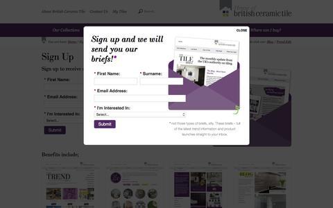 Screenshot of Signup Page britishceramictile.com - Sign Up | British Ceramic Tile - captured Jan. 7, 2016