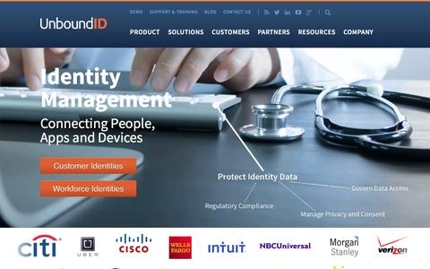 Screenshot of Home Page unboundid.com - Customer Identity Management | UnboundID - captured Feb. 19, 2016