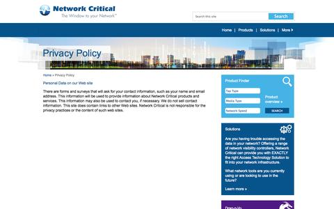 Screenshot of Privacy Page networkcritical.com - Network Critical - Privacy Policy - captured Oct. 10, 2014