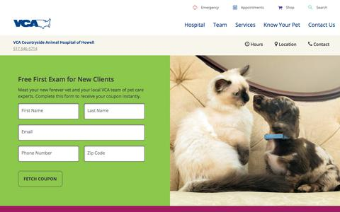 Screenshot of Signup Page vcahospitals.com - Free First Exam in Howell, MI | VCA Countryside Animal Hospital of Howell - captured July 3, 2018