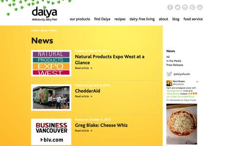Screenshot of Press Page daiyafoods.com - News | Daiya Foods - captured Sept. 19, 2014