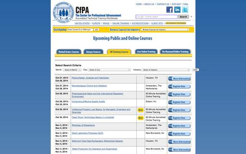 Screenshot of Landing Page cfpa.com - Upcoming Accredited Technical Training | Pharmaceutical, Biotechnology,  			Medical Device - captured Oct. 27, 2014