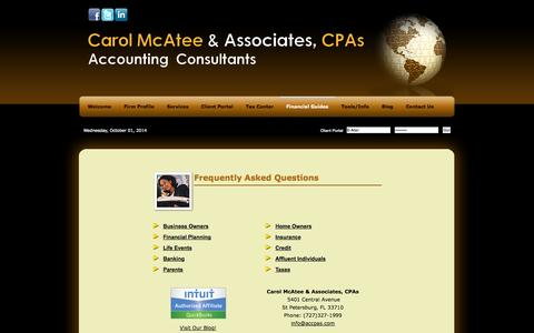 Screenshot of FAQ Page accpas.com - St Petersburg, FL CPA / Accounting Consultants - captured Oct. 2, 2014