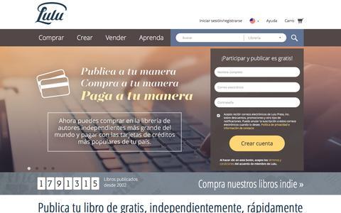 Screenshot of Home Page lulu.com - Publica tu libro independientemente de gratis en línea en Lulu.com - captured March 15, 2017