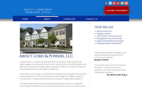 Screenshot of About Page lordandpowersllc.com - About - captured Feb. 1, 2016