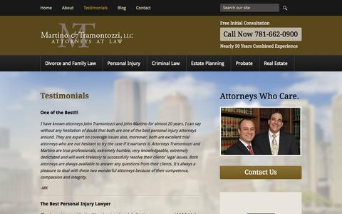Screenshot of Testimonials Page mandtlaw.com - Testimonials | Martino & Tramontozzi LLC | Melrose, Massachusetts - captured Oct. 27, 2014