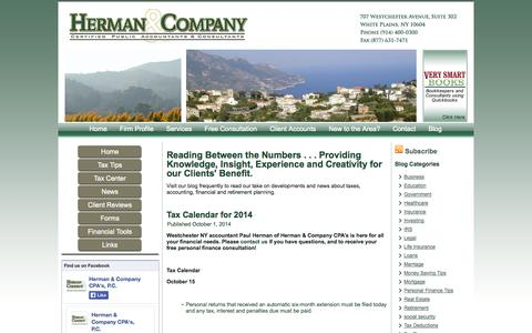 Screenshot of Blog hermancpa.com - Herman & Company - captured Oct. 2, 2014