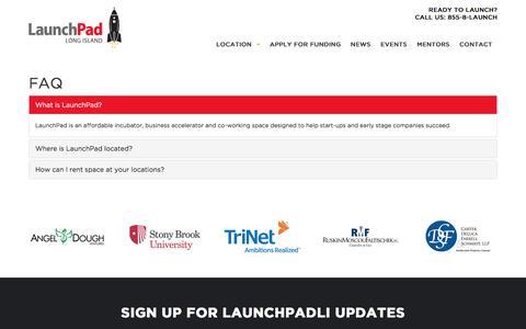 Screenshot of FAQ Page launchpadli.com - FAQ - LaunchPad - captured Aug. 3, 2016