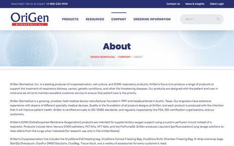 Screenshot of About Page origen.com - About - Origen Biomedical - captured June 11, 2018