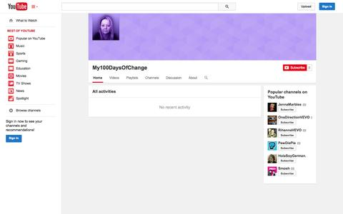 Screenshot of YouTube Page youtube.com - My100DaysOfChange  - YouTube - captured Oct. 26, 2014