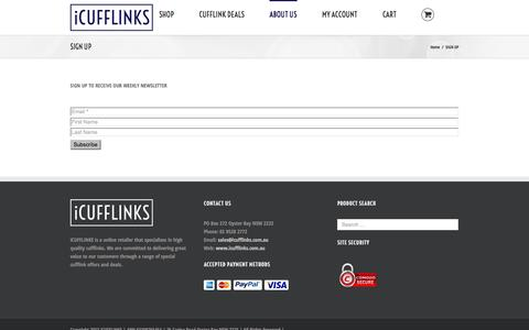 Screenshot of Signup Page icufflinks.com.au - SIGN UP - - captured Oct. 29, 2014