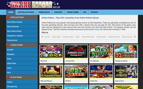 Screenshot of Home Page online-pokies.net.au - Online Pokies - Play 250+ Australian Free Online Pokies Games - captured Aug. 29, 2016