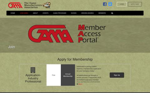 Screenshot of Signup Page gama.org - The Game Manufacturers Association - captured Sept. 25, 2018