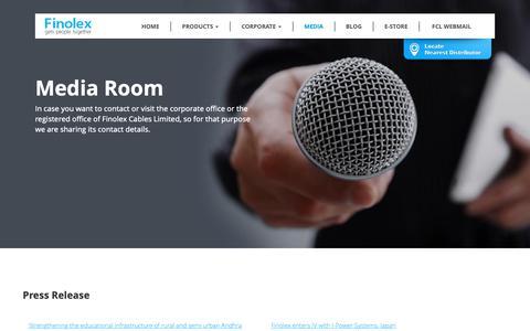 Screenshot of Press Page finolex.com - Finolex - Media - captured Dec. 19, 2018
