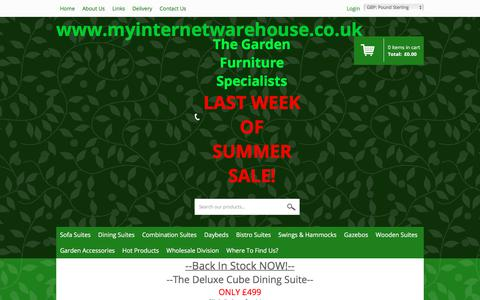 Screenshot of Home Page myinternetwarehouse.co.uk - We sell a Fantastic Range of Top Quality Garden Furniture at Discount Prices! - captured Sept. 21, 2018